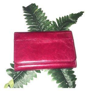HOBO cranberry leather tri-fold multi-slot wallet